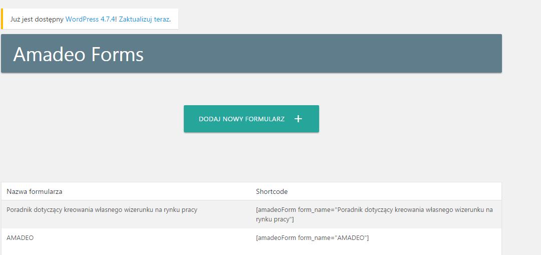 Aktualizacja: dodano formularze Amadeo