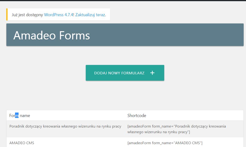 Aktualizacja: dodano formularze Amadeo PRO